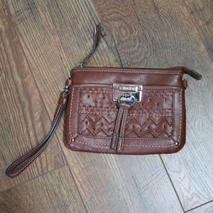 Chaps Brown Western Style Wristlet Bag